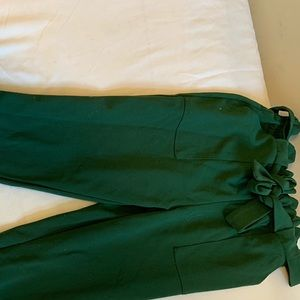 Green paper bag pants